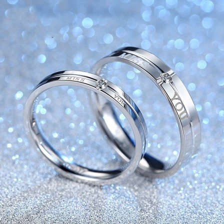"""""""Miss You"""" Creative S925 Sterling Silver Inlaid Cubic Zirconia Couple Rings"""