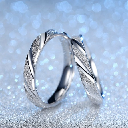 New Arrivals Frosted S925 Sterling Silver Couple Rings