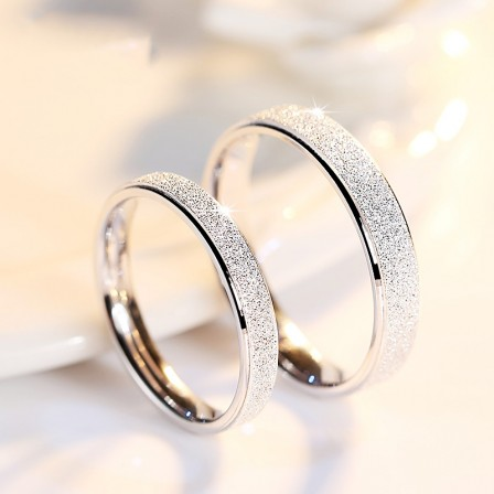 Creative Frosted Lovers S925 Sterling Silver Couple Rings