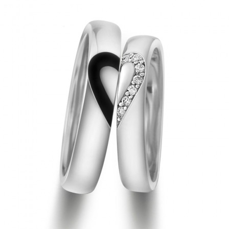 Heart-Shaped Design S925 Sterling Silver Inlaid Cubic Zirconia Couple Rings