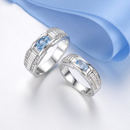 S925 Sterling Silver Inlaid Cubic Zirconia Engraved Original Design Couple Rings