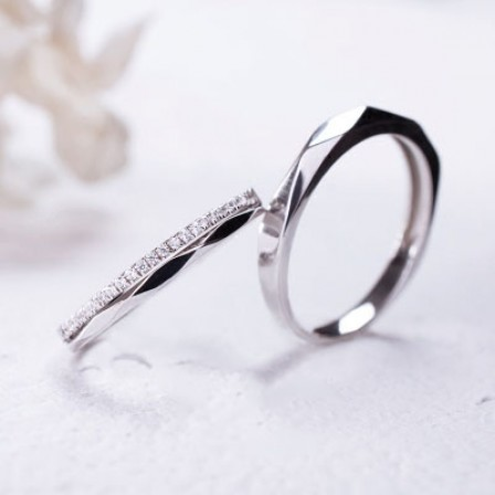 Rhombic Cutting S925 Sterling Silver Inlaid Cubic Zirconia Couple Rings
