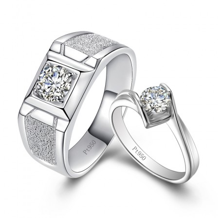 Sterling Silver Cubic Zirconia Simulation Drilling White Sapphire Silver Couple Rings