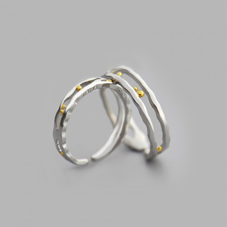 S925 Sterling Silver Open Couple Rings