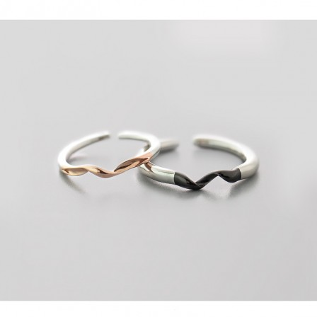 Sterling Silver Black||Rose Gold Open Couple Rings