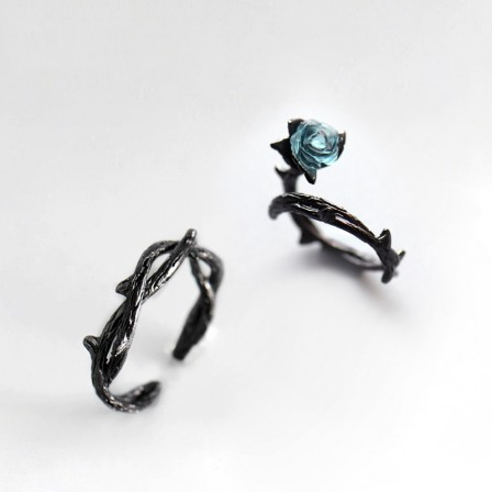 Sterling Silver Artificial Crystal Aquamarine Black Open Couple Rings