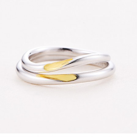 S925 Sterling Silver Frosted Silver Couple Rings