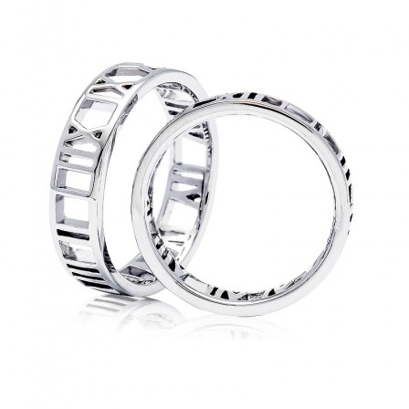 S925 Sterling Silver Time Design Silver Couple Rings