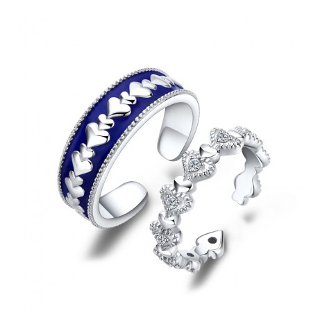 Sterling Silver Cubic Zirconia White Sapphire Heart-Shaped Couple Rings