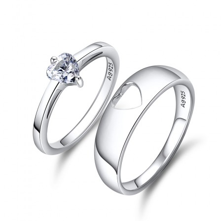 S925 Stylish S925 Sterling Silver Cubic Zirconia White Sapphire Silver Couple Rings