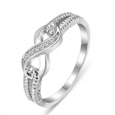 Best-Selling S925 Sterling Silver Twsit Cubic Zirconia Ring