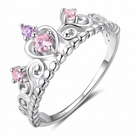 Sterling Silver Diamond Inlaid Crown Ring