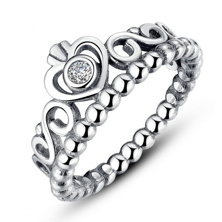 S925 Sterling Silver Fashion Retro Diamond Crown Ring
