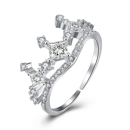 S925 Sterling Silver Open Ring Crown Diamond Ring