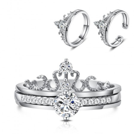 S925 Sterling Silver Creative Crown Diamond Open Ring