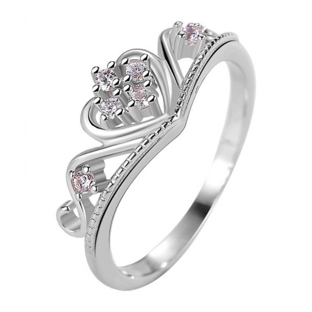 S925 Silver Heart Crown Zirconia Rings 18K White Gold Plated