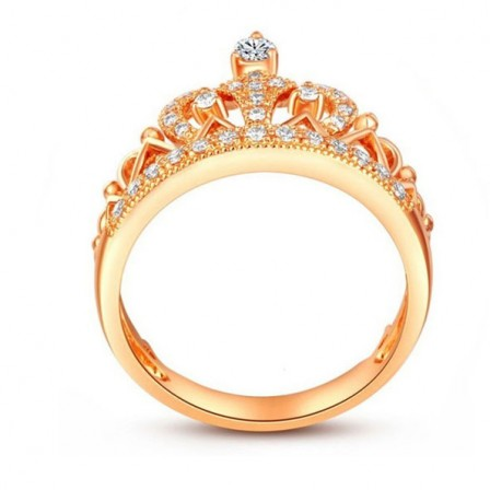 S925 Sterling Silver Baroque Crown Princess Crown 18K Gold Plated Diamond Wedding Ring
