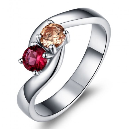 Sterling Silver Gold Plated Round Cubic Zirconia Champagne Fuchsia Sliver Rings