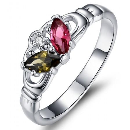 Sterling Silver Gold Plated Marquise Cubic Zirconia Fuchsia Peridot Sliver Rings