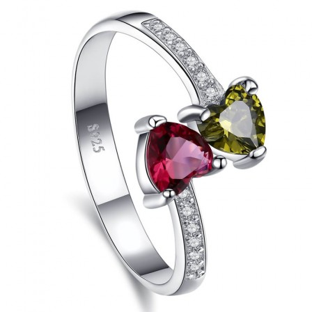 Sterling Silver Gold Plated Heart Cubic Zirconia Fuchsia Peridot Sliver Rings