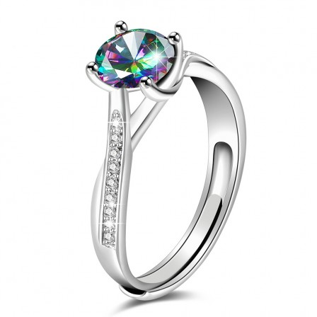 Sterling Silver Gold Plated Round Cubic Zirconia Rainbow Topaz Sliver Open Rings