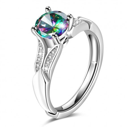 S925 Sterling Silver Gold Plated Round Cubic Zirconia Rainbow Topaz Sliver Open Rings