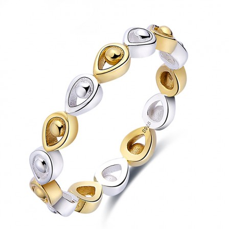 Drop-Shaped Sterling Silver Gold Plated Sliver Rings