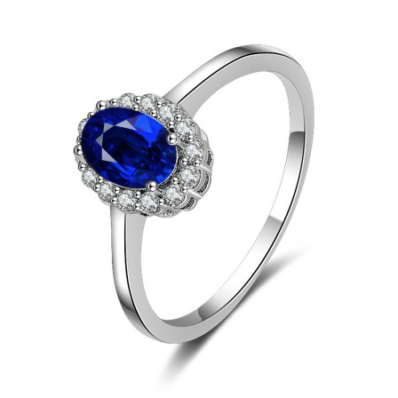 Sterling Silver Gold Plated Oval Cubic Zirconia Sapphire Sliver Rings