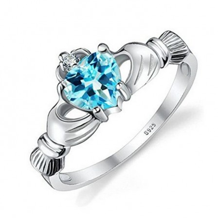 Trendy S925 Sterling Silver Blue Cubic Zirconia Heart Ring