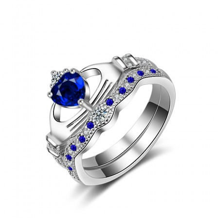 Popular Silver Plated Love Heart Blue Cubic Zirconia Ring