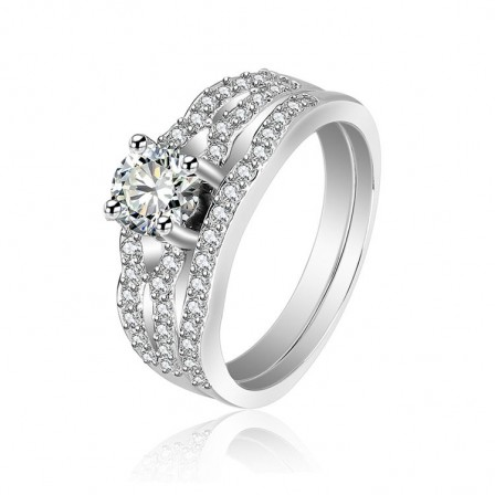 Cubic Zirconia Wedding Rings.S925 S925 Sterling Silver Cubic Zirconia Wedding Rings Sets
