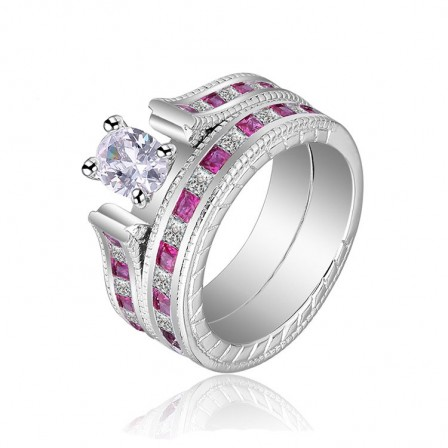 Oval Shaped S925 Platinum Plating Rings Wedding Sets