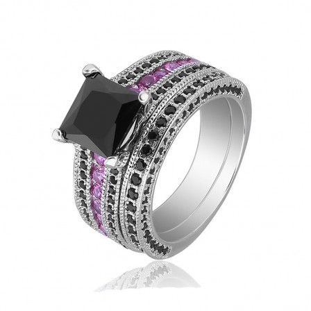 S925 Black Gold Plating Princess Cut Ring