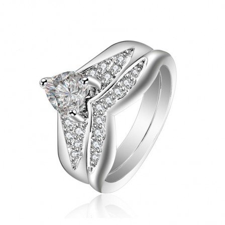 Heart Cut White Cz S925 Sterling Silver Wedding Rings Sets Urcoco Com