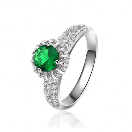 Round Emerald Cubic Zirconia S925 Sterling Silver Rings