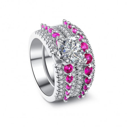 Creative Design Heart Cut Fuchsia Cz S925 Sterling Silver Rings Wedding Sets