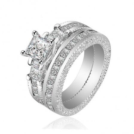 Classic Romatic Princess Cut White Sapphire Cz Wedding Sets