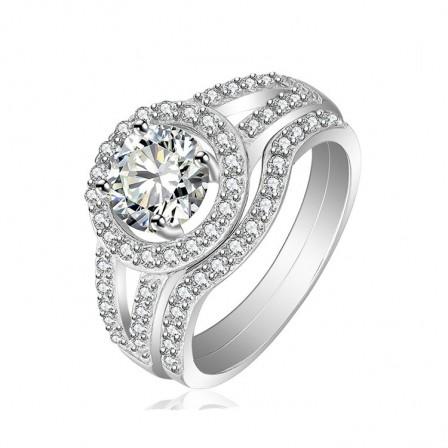 S925 Cubic Zirconia Round White Sapphire Wedding Sets
