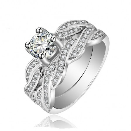 Modern Design White Sapphire Round Cut Wedding Rings