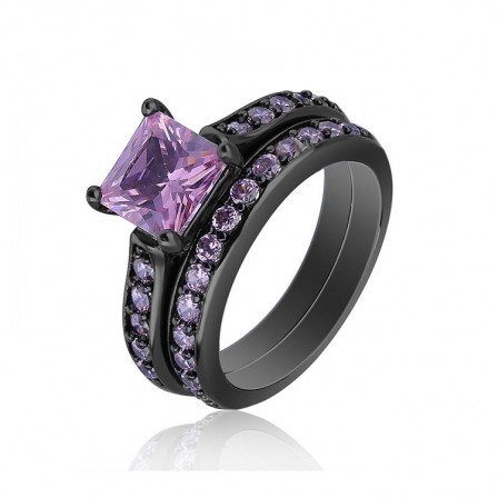 Black Gold Plating S925 Sterling Silver Pink Cz Wedding Promise Rings