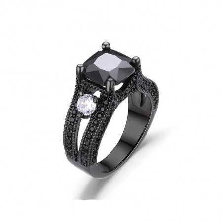 Hot Sale S925 Sterling Silver Platinum Plating Black Cz Wedding Rings