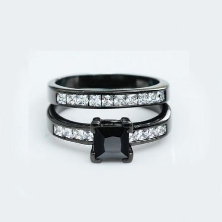 Black Gold Plating S925 Cubic Zirconia Wedding Sets Rings