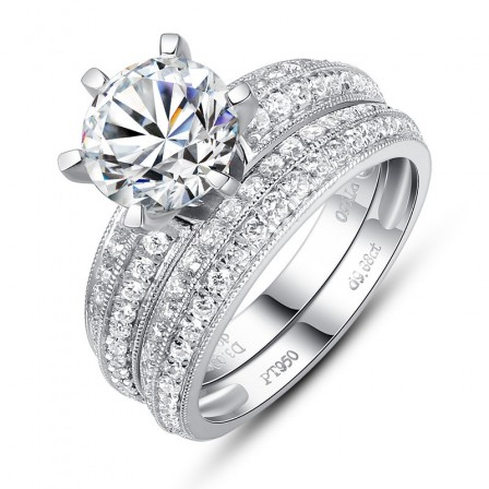 Simple Round Sona Diamond S925 Sterling Silver Wedding Ring Set
