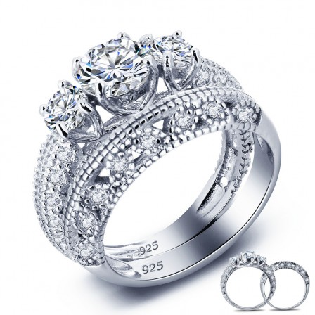 Chic S925 Sterling Silver Round Cubic Zirconia Engagement Ring Set