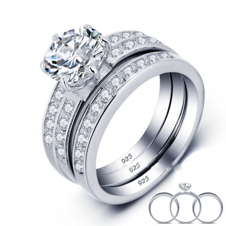 Beautiful S925 Sterling Silver Round Cubic Zirconia Engagement Ring Set