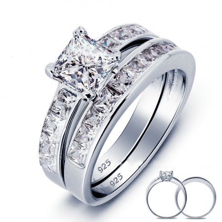 Extraordiary S925 Sterling Silver Round Cubic Zirconia Wedding Ring Set
