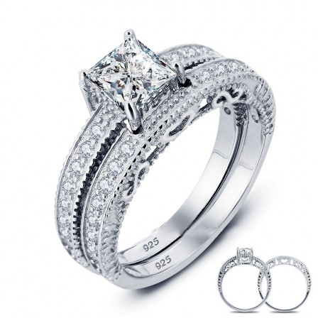 Splendid S925 Sterling Silver Radiant Cubic Zirconia Wedding Ring Set