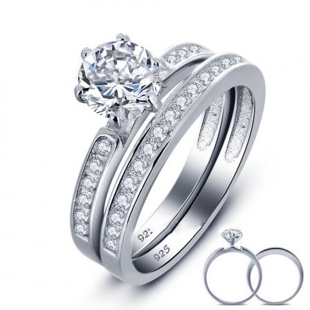 Classical S925 Sterling Silver Round Cubic Zirconia Engagement Ring Set