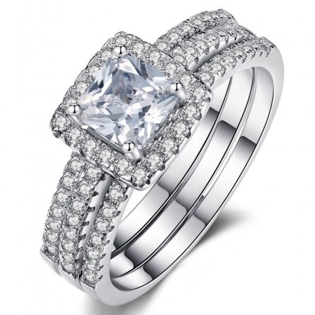 Gorgeous S925 Sterling Silver Shinning Cubic Zirconia Bridal Ring Set