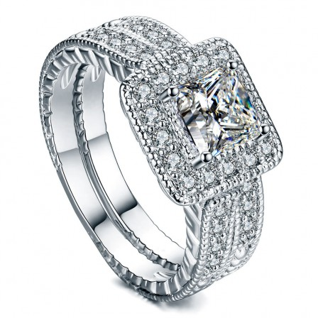 Marvelous S925 Sterling Silver Radiant Cubic Zirconia Engagement Ring